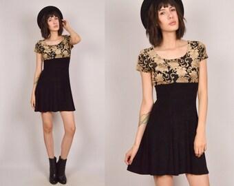 90's Sheer Black Velvet Floral Mini Dress