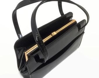 1960's Vintage Handbag - 60's Vintage Purse - Vinyl Plastic Patent Leather Effect - Cute Black PVC Bag