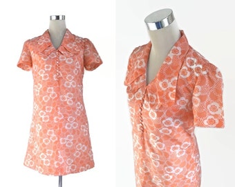 1970's Print Mini Dress - Pale Tangerine Orange Dress - Early 70's Floral Dress