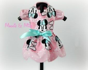 Dog Dress, Pink Dog Dress, Minnie Mouse Dog Dress, Dog Clothing, Puppy Clothing, Pet Clothing, Pink Pet Dress