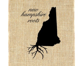 New Hampshire Roots Unframed, Burlap Print, Burlap Art, Wall Art, State Roots, NH Roots
