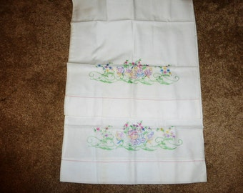 Vintage pair of embroidered pillow cases standard size 60's-70's