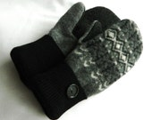 Black/White/Charcoal Grey - Felted Wool Mittens - Womans - Medium - Ready to Ship