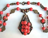 Vintage Coral Glass Necklace, Victorian Revival, Ornate Brass Frame Pendant, Bead Clusters, Mini Chain Tassle Medallion