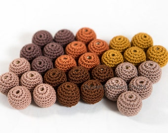 """Crochet beads 5 PCS 3/4"""" 20 mm Brown tones Wooden crochet cotton beads Crocheted bead Round beads Necklaces"""