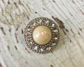Ivory Vintage Acrylic Button - AB/Iridescent finish - 25mm Fancy Acrylic Pearl & Rhinestone Buttons -  Vintage Elegance