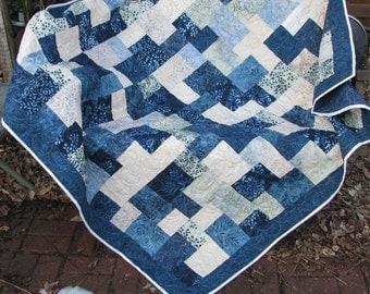 Lap Quilt, Sofa Quilt, Quilted Throw - Moda Cold Spell Batik Lap Quilt