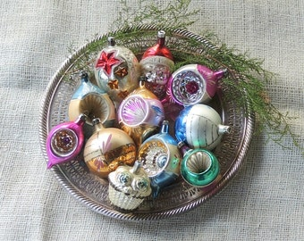 Vintage Indented Ornaments Set of 11, Christmas Ornaments, Blown Glass Ornaments Holiday Decor, Collectible, Tree Decor
