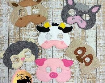 Farm animals donkey cow sheep bog horse pig Felt Mask