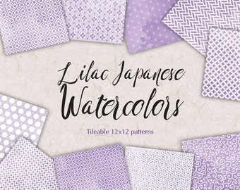 Lilac digital paper Watercolor patterns Japanese paper pack digital Oriental Background patterns Floral digital backdrop Newborn