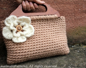 CROCHET PATTERN - crochet purse with flower and button, adult size - Listing105