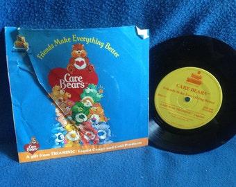 "RARE, Vintage, The Care Bears - ""Friends Make Everything Better"", Vinyl 7"" 45RPM, Record Album, Childrens, Kid Stuff"