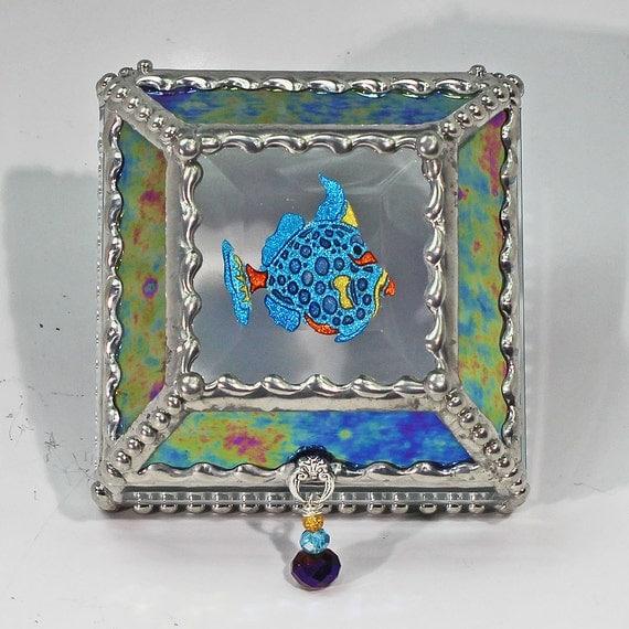 Fish, treasure box, , Souvenir Box, Memorabilia Case, Stained Glass, Stained Glass