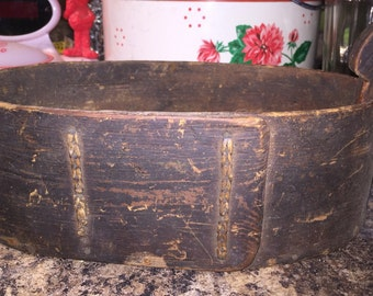 Extremely Old Wooden Oval Basin
