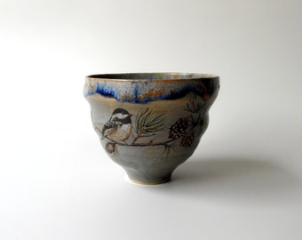Ceramic Cup in Grey with Chickadee on a Pine Branch, Bird Lover's Gift, Asymmetrical Bowl, Teacup, Coffee Cup by Cecilia Lind, StudioLind