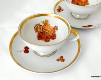 Two Vintage Tea Cups, Golden Crown E&R Harvest Tea Cups, Germany