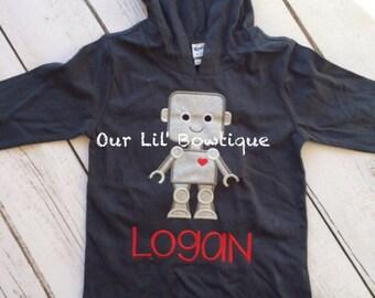 Valentine's Robot Shirt - Personalized Valentine Shirt - Boy - Toddler - Baby -  Robot