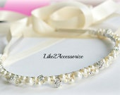 Swarovski Pearl Headband Bridal Tiara Headband Wedding Jewelry Bridal Head Piece Rhinestones Pearl Wedding Headband First Holy Communion
