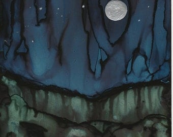 """Ink Painting, """"Night Falls"""" , print, matted, backed, ready for framing"""