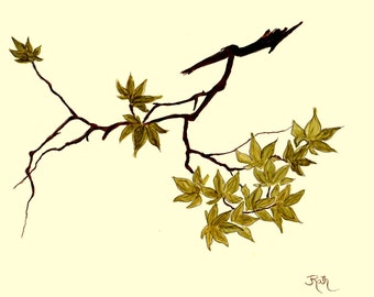 "Ink Painting, ""Maple Branch"", print, matted, backed, ready for framing"