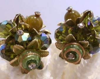 Green Crystal and Murano Bead Vendome Clip Earrings