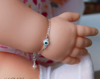 Children Bracelet With Evil Eye, Sterling Silver, Figaro Chain, Baby Kids Girl Boys Jewelry, Protection Baby Bracelet