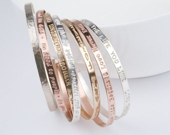 Silver or gold or rose gold  Half Cuff Bracelet,  quaot cuff Bracelet, Engraved Inspirational Quote, Meaningful Gift,Personalized b