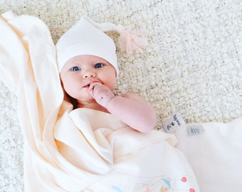 Baby girl blanket. Two thin layers of soft & stretchy knit fabric. Blanket size: Size 40 by 40 inches. By Lippy brand.