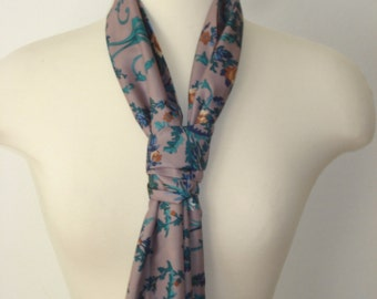 Vintage Mauve and Green Long Scarf - Leaves and Flowers Scarves - Womens Accessories 1970s