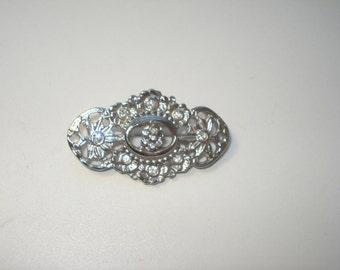Vintage Silver Oval Scarf Brooch  - Rhinestone PIn - Costume Jewelry Brooch 1980s