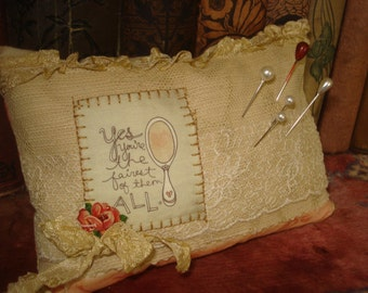 """OOAK Handmade SEWING PINCUSHION Antique Lace """"Fairest of them all"""" Image"""