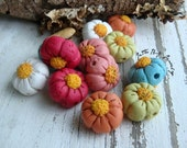 Bobble Blooms- polymer clay flower beads. ONE PAIR rustic petal flower beads. white lime turquiose magenta pink orange. Jettabugjewelry