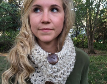 Crocheted Cowl Scarf with Buttons Handmade Infinity Scarf