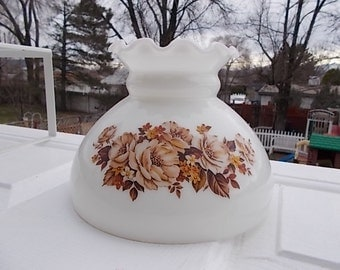 Vintage Light Shade, White with Pretty Brown Flowers Hurricane Lamp Shade with Crown Top/2 Available/S:)Not Included in Coupon Discount Sale