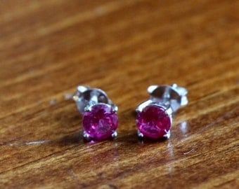July Ruby Birthstone Earrings- Sterling Silver - Girl Jewelry - Birthday Present