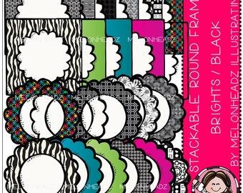 Melonheadz: Round stackable bright/blk frames