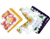 Vintage Hankie Collection, Cotton Floral Hankies, Hanky, Prairie Girl, Country Girl Accessories, Retro Hankies,Lot of 5
