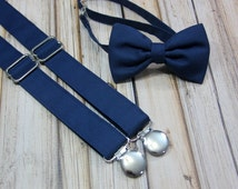 Solid Navy Bow Tie and Suspender set ( Men, boys, baby, toddler, infant ) outfit