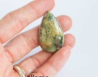 Gorgeous natural untreated rhyolite jasper cab, drilled teardrop or cabochon, jewellery designer stone 22mm x 36mm loose gemstone