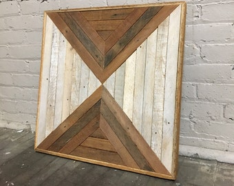 "Reclaimed Wood Wall Art 23""x23"", Natural Wood"