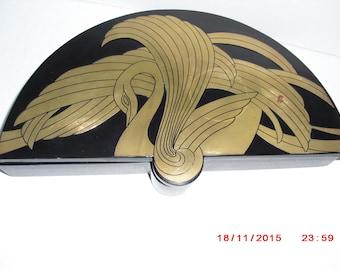 Art Deco Frederick Cooper brass inlay lacquerware dresser box