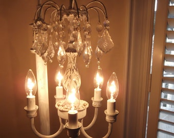 chandelier floor lamp antique vintage Handmade, shabby chic, french country  lighting, vintage crystals
