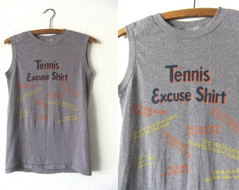 Tennis Excuse Shirt - Funny Sporty Muscle Shirt Super Soft Thin Distressed Vintage Sleeveless Tee - Mens XS