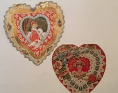 Art Deco Valentines / Cute Heart Shaped Retro Valentines 1930's-1940's Used