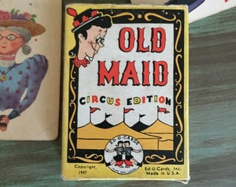 Old Maid Cards / Vintage Old Maid CIRCUS Cards by Whitman for Altered Art, Journals, Scrapbooking, Collage, Art, Etc.