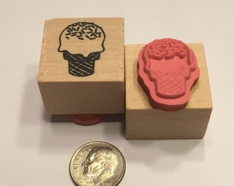 small Icecream cone rubber stamp, 20 mm (B4/8)