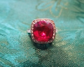 Vintage Costume Ring, 18 Karat Rolled Gold Plate with Large Red and Clear Rhinestones. Size 5.75.  Excellent Condition