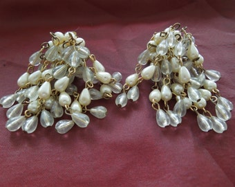 Vintage Clip Earrings, Dangle Style, Gold Toned Base with Clusters of Beads.