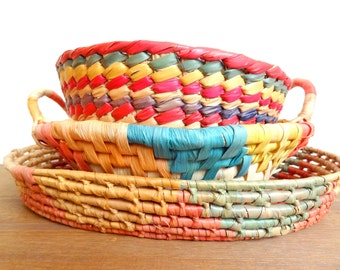 Vintage Woven Basket Set of 3, Woven Coiled Straw Colorful