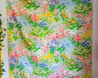 Vibrant Cotton Wildflower, Floral Print Curtain Panel, Fabric
